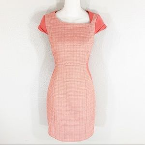 Tahari pink coral white tweed front sheath dress